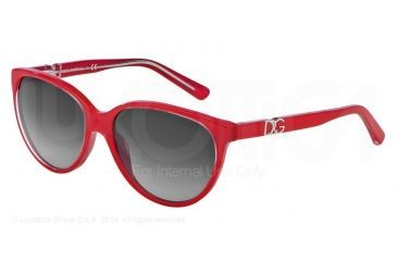 Dolce&Gabbana ICONIC LOGO DG4171P Sunglasses 27758G-56 - Top Crystal On Pearl Red Frame, Grey Gradient Lenses