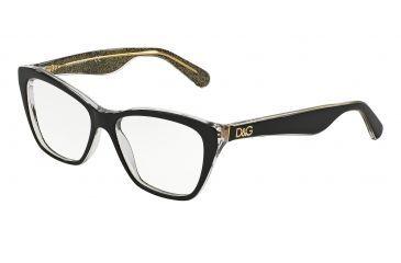 fbf8e479e5cf Dolce Gabbana LIP GLOSS DG3167 Eyeglass Frames 2737-52 - Black glitter Gold  Frame