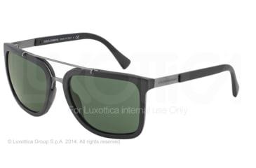 Dolce&Gabbana LOGO PLAQUE DG4219 Sunglasses 193471-57 - Matte Black Frame, Grey Green Lenses