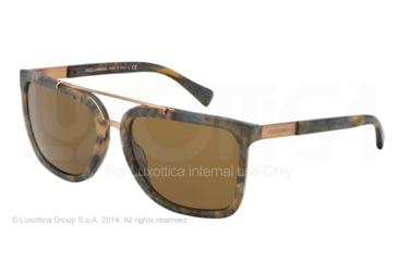 Dolce&Gabbana LOGO PLAQUE DG4219 Sunglasses 280173-57 - Camouflage Matte Green Frame, Brown Lenses