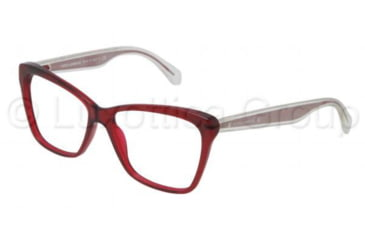 Dolce&Gabbana MAMBO COLLECTION DG3140 Progressive Prescription Eyeglasses 550-5214 - Transparent / Red Frame, Demo Lens Lenses