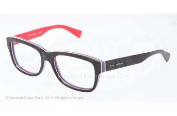 Dolce&Gabbana MULTICOLOR DG3178 Single Vision Prescription Eyeglasses 2764-52 - Black/multilayer/red Frame