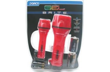 Dorcy 2AA / 2D Gel Brite Combo Two Flashlights w/ H.D. Batteries, Red 41-2981