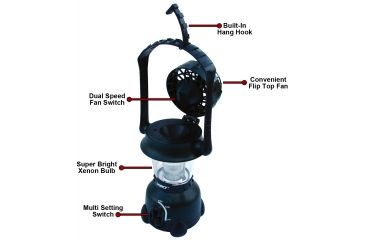 Dorcy 4D Luminator Lantern w/ Flip Top Fan, Hang Hook, Black 41-3110