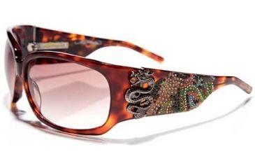 Ed Hardy Geisha & Dragon Sunglasses - Tortoise Frame, Brown Lens
