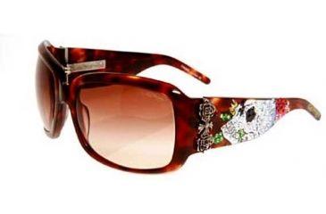 Ed Hardy Skull & Roses Crystal Sunglasses - Tortoise Frame, Brown Lens
