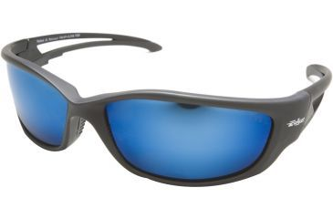 Edge Eyewear Kazbek Safety Glasses Black Frame Polarized Aqua Precision Blue Mirror Lens Tskap218