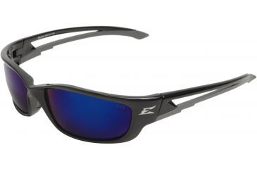 Edge Eyewear Kazbek Xl Safety Glasses Black Frame Blue Mirror Lens Sk Xl118