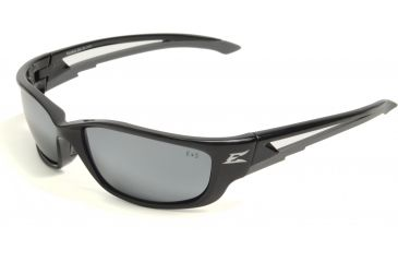 Edge Eyewear Kazbek XL Safety Glasses - Black Frame, Silver Mirror Lens SK-XL117