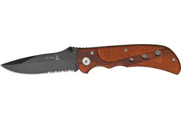 Elk Ridge Linerlock Folding Knife, 3.25in, Serrated, Brown Wood Handle ER144