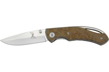 Elk Ridge Linerlock Folding Knife,Stainless Blade, Checkered Brown Composition Handle ER071