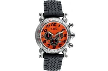 Equipe E107 Balljoint Mens Watch - Silver Case, Orange Dial, Rubber Strap