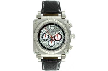 Equipe E301 Gasket Mens Watch - Silver Case/Bezel, Black Leather Strap, Silver Dial