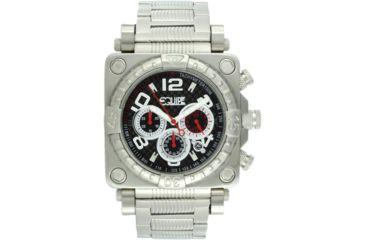 Equipe E302 Gasket Mens Watch - Silver Case/Bezel, Silver Bracelet, Black Dial
