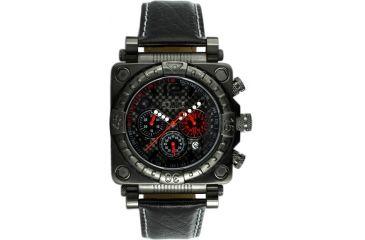 Equipe E305 Gasket Mens Watch - Black Bezel, Case, Leather Strap - Black Numbers