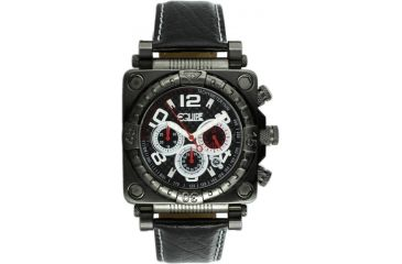 Equipe E306 Gasket Mens Watch - Black Bezel, Case, Leather Strap - White Numbers