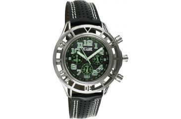 Equipe E803 Chassis Mens Watch - Black Strap, Silver Case, Black/Green Dial