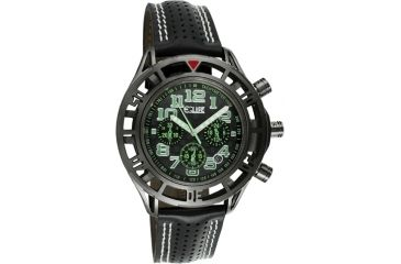 Equipe E806 Chassis Mens Watch - Black Strap, Black Case, Black/Green Dial