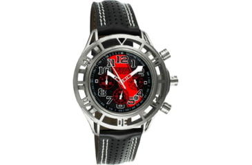 Equipe Eqb101 Mustang Boss 302 Mens Watch - Silver Case, Black Dial w/ Red Stripe
