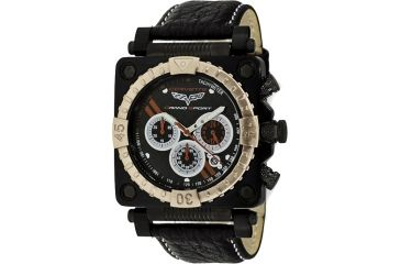 Equipe Ev306 Corvette Grand Sport Mens Watch - Leather Strap, Gold Gezel, Black Dial