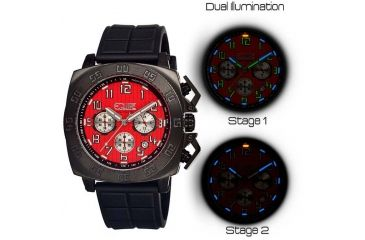 Equipe Tritium Push Mens Watch, Black-Red EQUET308