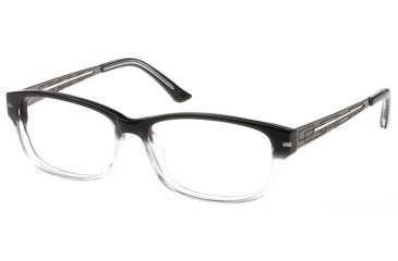 Exces Womens 3097 Eyeglasses - Black Crystal-Gunmetal Frame w/ Clear Lenses, Size 53-14-135, 53-14-135 3097-246