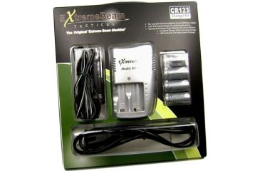 ExtremeBeam 4.2v CR123 Charger Kit 4B/pk, Gray, N/A EB-AF-A01