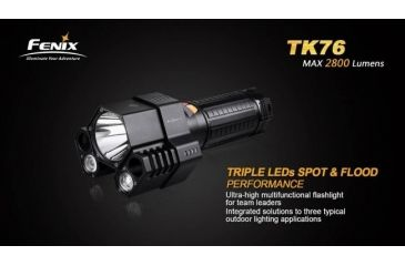 Fenix TK76 3x CREE XM-L2 LED Flashlight, 2800 Lumens, Black, Runs on 4x 18650 Batteries FENIX-TK76-XML2