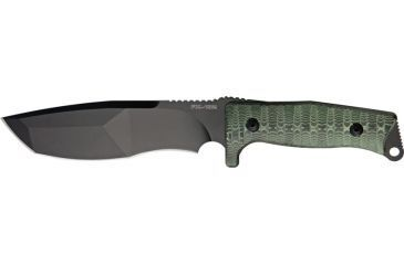 Fox Trapper Fixed Blade Fixed Blade Knife, 6.5in, Modified Stainless Tanto, Green/Black Micarta Handle FOX132MGT