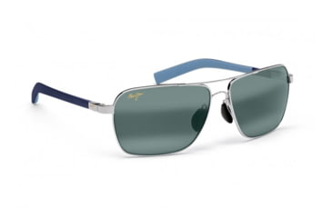 Maui Jim Freight Trains Sunglasses w/ Silver w/ Blue Tips Frame and Neutral Grey Lenses - 326-17, Quarter View
