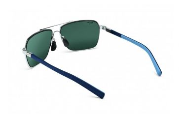 Maui Jim Freight Trains Sunglasses w/ Silver w/ Blue Tips Frame and Neutral Grey Lenses - 326-17, Back View