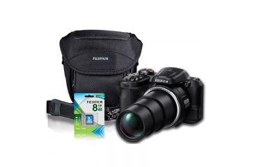 Fujifilm FinePix S8600 16MP Digital Camera, Black, Bundle-Gadget Bag, 8GB Memory Card, 3xAA Batt. 600013635