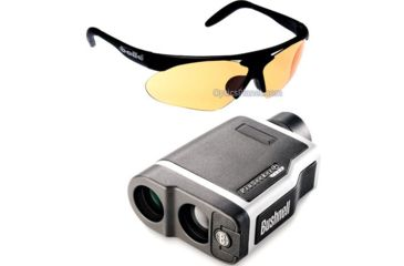 2-PC Bushnell Golfing Gift Package - Bushnell PinSeeker 1500 Laser Rangefinder 205103 Golf w/ Slope +/- and Bolle Parole Golf Sunglasses, Matte Black Frame/TNS Gun, Vermillon, EagleVision 2, Clear Lens Set 0754201524