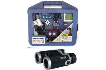 2-PC Exploration Children Gift Set - Meade Microscope Kit 08019 and Bushnell 8x32 Hemisphere Roof Prism Fully Coated Binoculars 160833