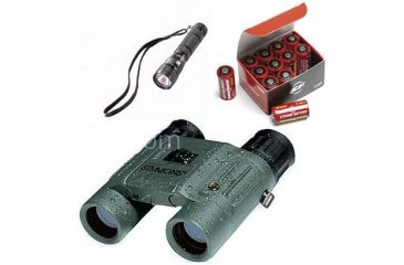 3-PC Equipment Pack for Soldiers with flashlight - Simmons 8X25 Waterproof Binoculars, Steamlight Flashlight, 123A Lithium Batteries Box