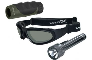 3-PC Enhanced View Military Gift Package - Wiley X SG-1, Streamlight TL-3, Barska 10x25 Monocular
