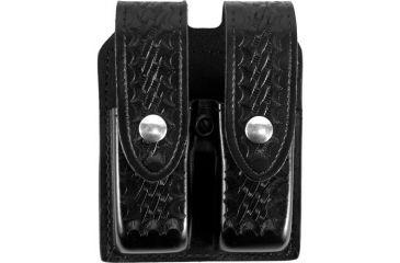 Gould & Goodrich B627 Leather Double Magazine Case, Basketweave, Nickel Snaps B627-3W