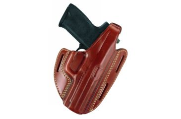 Gould & Goodrich Three Slot Pancake Holster, Chestnut Brown, Left Hand - Ruger 4in BBL & Similar
