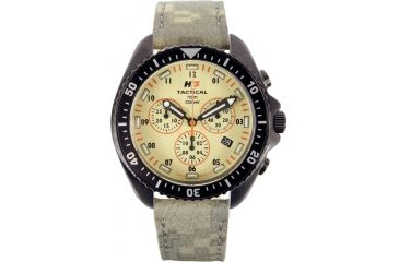 H3 Tactical H3.222351.09 Field Ops Mens Watch - Timer, Khaki Dial, Green Leather Band