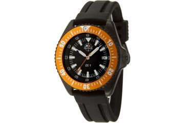 H3 Tactical H3.15111 Orange Shadow 1 Mens Watch - Black Dial, Black Rubber Band, Orange Bezel