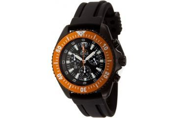 H3 Tactical H3.15121 Orange Shadow 1 Mens Watch - Black Dial, Black Rubber Band, Orange Bezel, Timer