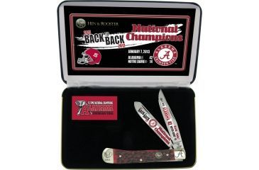 Hen & Rooster Alabama Crimson Tide Folding Knife,Stainless Clip and Spey Blade, Red Pick Bone Handle HRANC312RPB