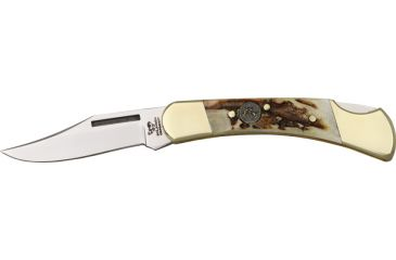 Hen & Rooster Lockback Stag Folding Knife, 2.5in, Stainless Clip Blade, Genuine Deer Stag Handle HR351DS