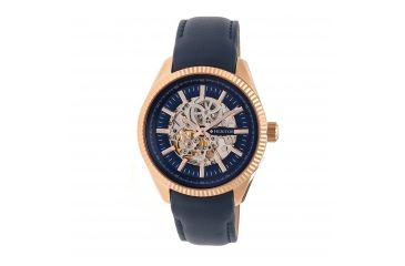 506fe339e Heritor Automatic Desmond Skeleton Dial Leather-Band Watch, Navy/Navy  HERHR6604