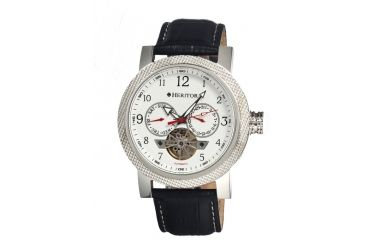 Heritor Millennial Mens Watch, Black Leather Band, Silver Bezel, White Analog Dial, Silver Hand HERHR1501
