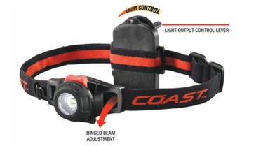 Coast HL6 LED 153 Lumens 3AAA Headlamp, Black/Red - Box Pack 19268