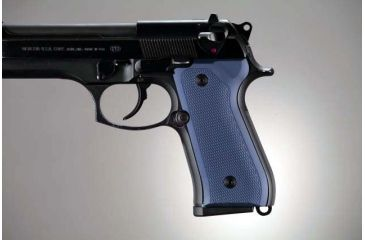 Hogue Beretta 92 Checkered Aluminum - Matte Blue Anodized 92173