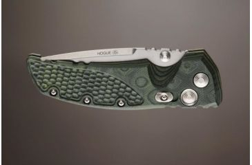 Hogue EX-01 3.5in Tactical Folder Drop Point Blade Tumble Finish G-10 Frame - G-Mascus Green 34178