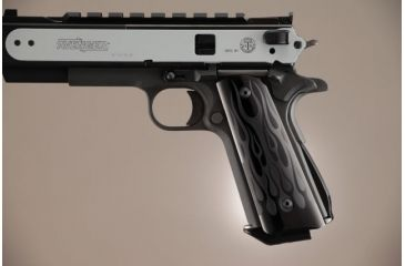 Hogue Govt. Aluminum Magrip Kit - Flames Arched Matte Black 01230