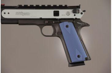 Hogue Govt. Model 3/16 Thin Checkered Aluminum - Matte Blue Anodized 01473